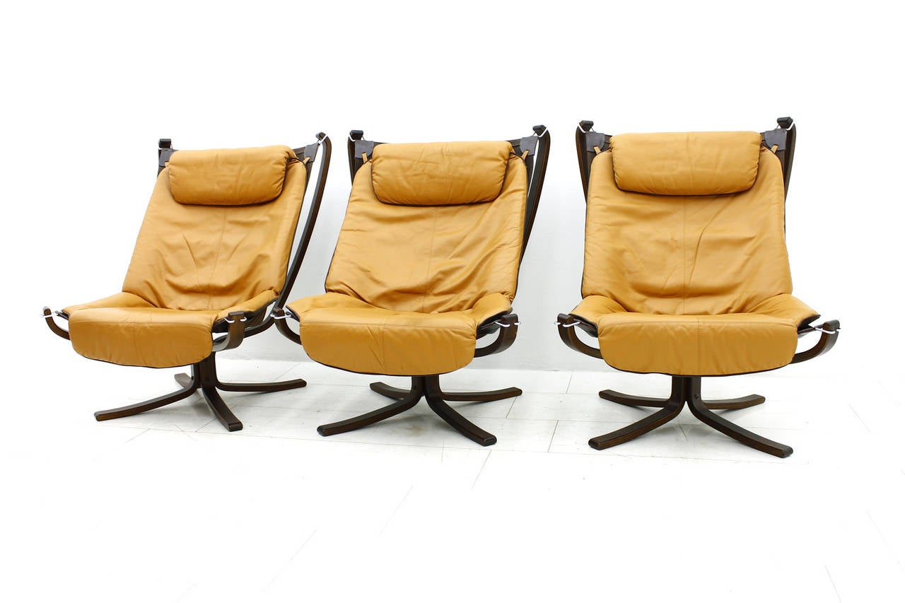Set Of Three Falcon High Back Lounge Chairs By Sigurd