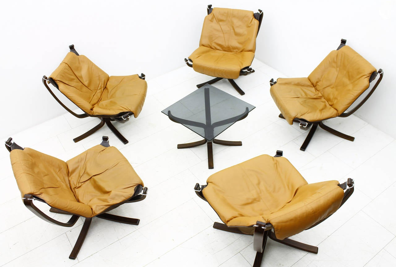 ... Five Sigurd Resell Falcon Chairs, Vatne Mobler, Norway, 1971 image 7
