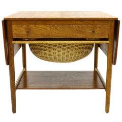 Hans J. Wegner Sewing Table Teak and Oak, Andreas Tuck, Denmark, 1950s