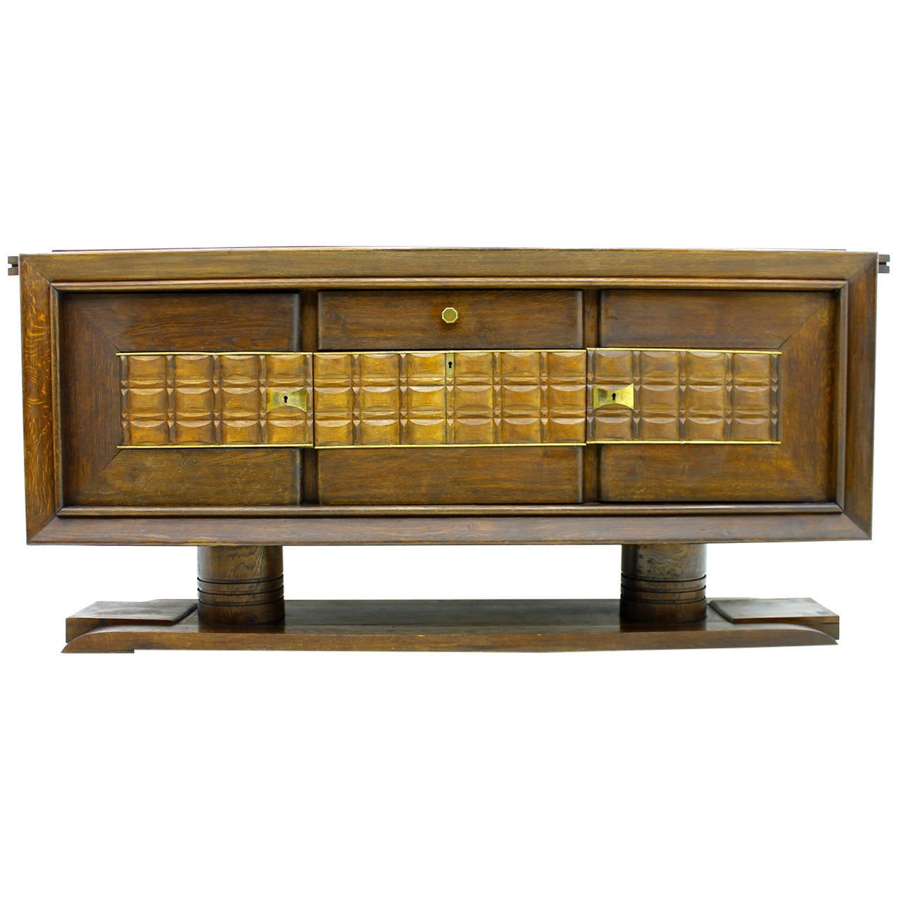Brutalist Credenza, Sideboard by Charles Dudouyt, France, circa 1940s