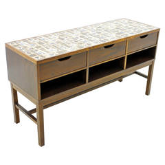 Severin Hansen Cabinet, Console with Ceramic Top, Haslev Denmark