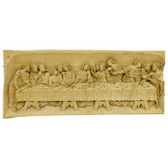 """The Last Supper"" Wood Carving Relief Masterpiece by Emrich Mussner, 1976"