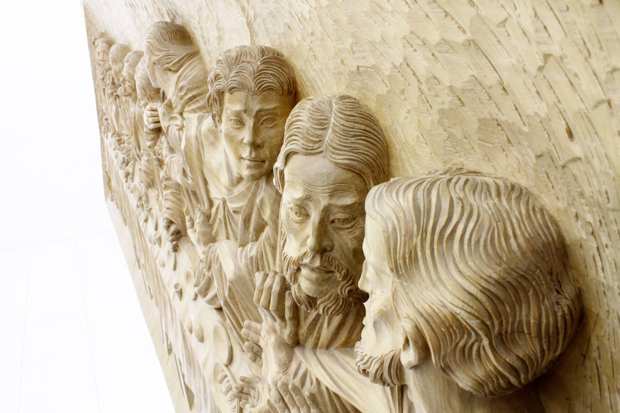 Quot the last supper wood carving relief masterpiece by