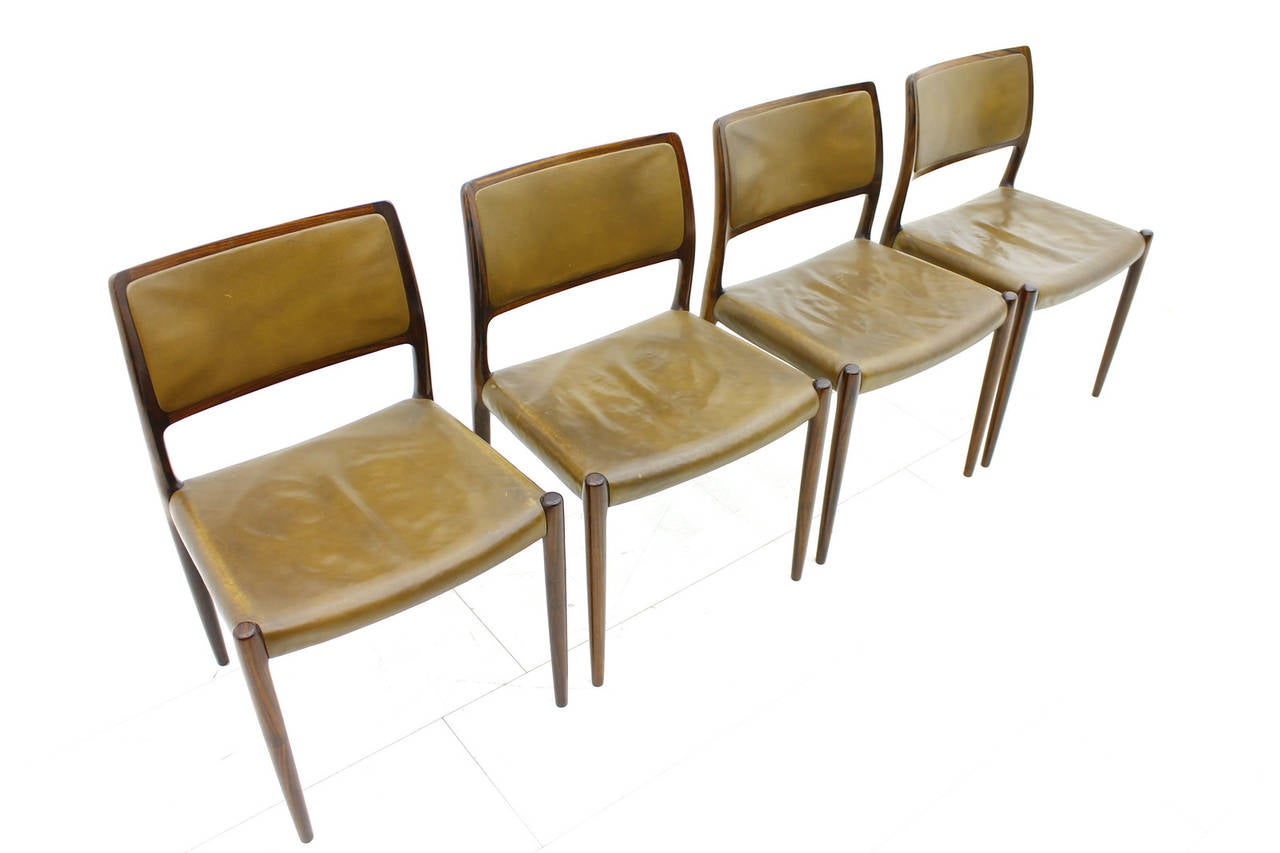Set Of Four Niels O M Ller Rosewood Dining Room Chairs For Sale At 1stdibs