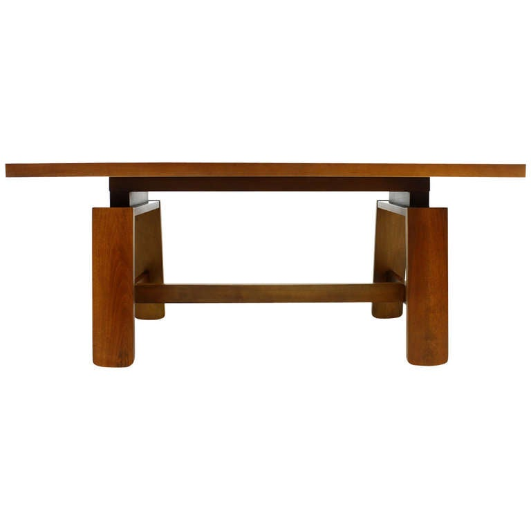 Mahogany Dining Table With Ceramic Bowl By Silvio Coppola Bernini Italy 1960 1