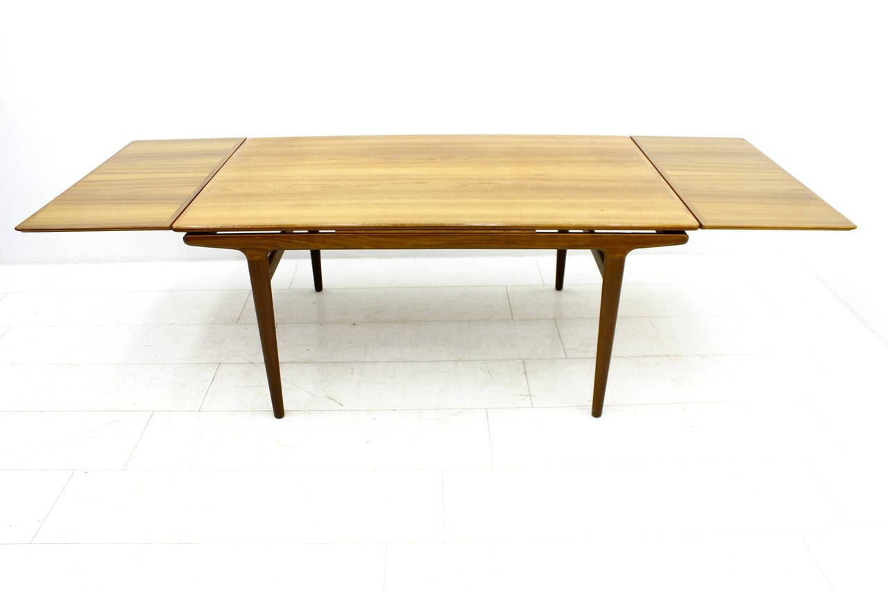 Teak Wood Extension Dining Table By Johannes Andersen Denmark 1960s At 1stdibs