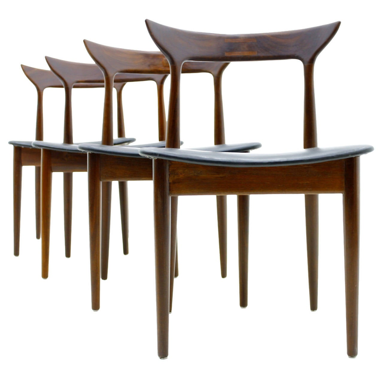 Set Of Four Dining Room Chairs Rosewood And Leather At