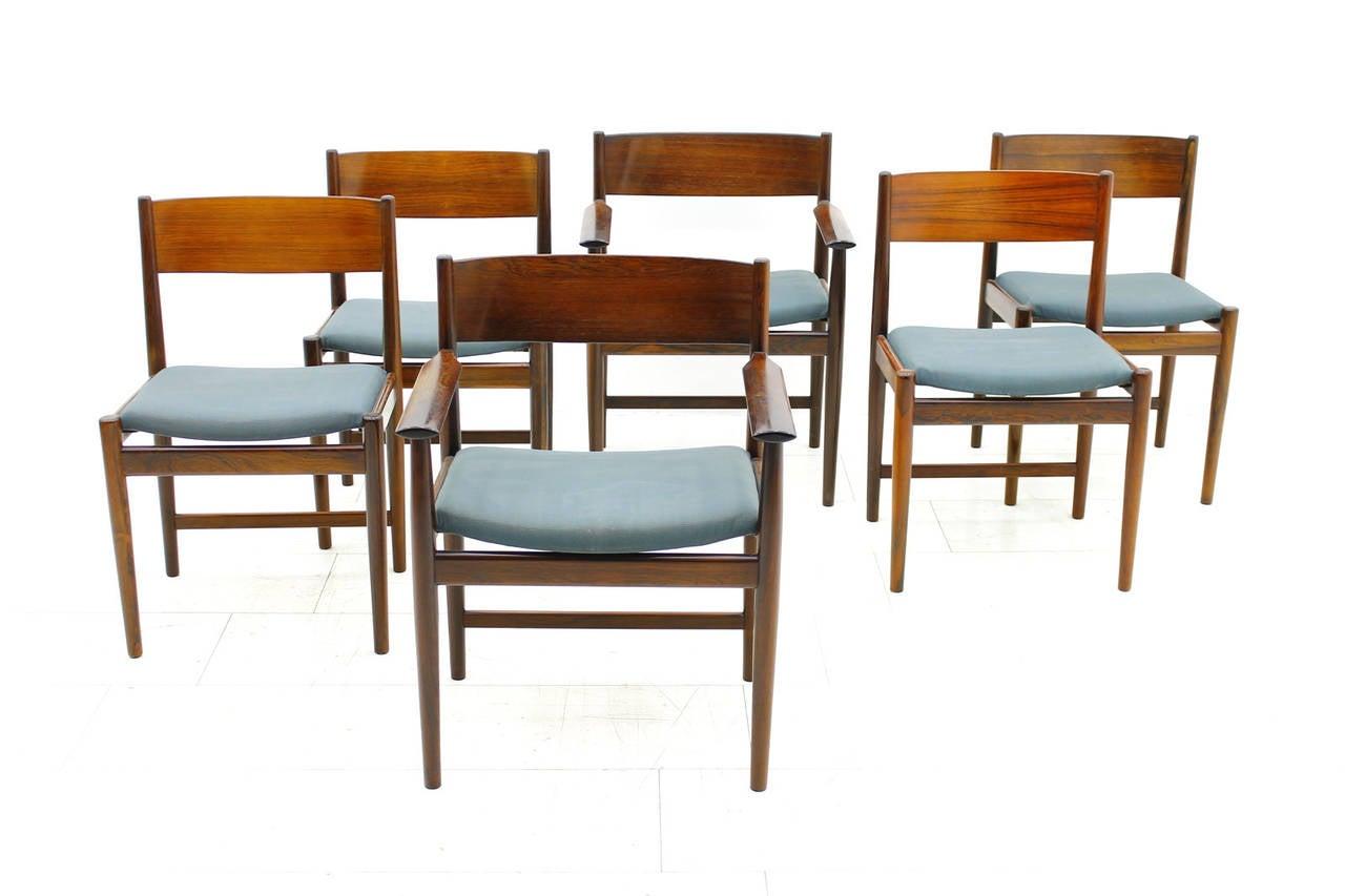 Scandinavian Modern Set of Six Kurt Ostervig Dining Chairs for Sibast, Denmark 1960s For Sale