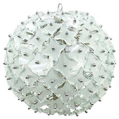"""Glass and Metal """"Snowball"""" Chandelier, Italy, 1960s"""