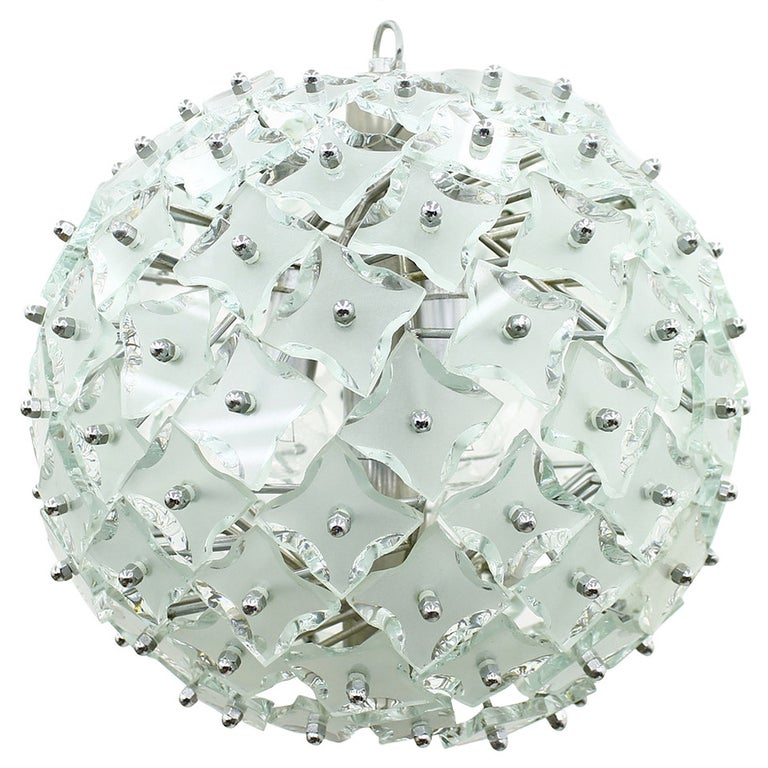 "Glass and Metal ""Snowball"" Chandelier, Italy, 1960s For Sale"