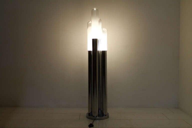 Mid-Century Modern Carlo Nason Floor Lamp, Mazzega Italy, Glass and Chrome, 1960s For Sale