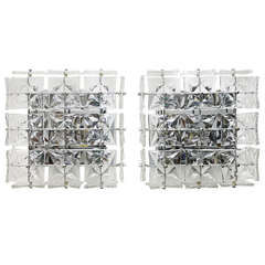 Pair Large Crystal Glass Wall Sconces or Flush Mount Lamps by Kinkeldey