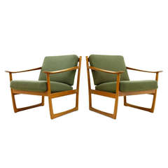 Pair of Danish Lounge Chairs by Peter Hvidt & Mølgaard, FD 130, 1961