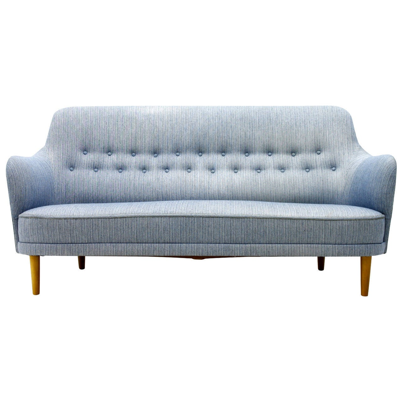 Carl Malmsten Sofa with light blue Fabric, Sweden, 1940s For Sale