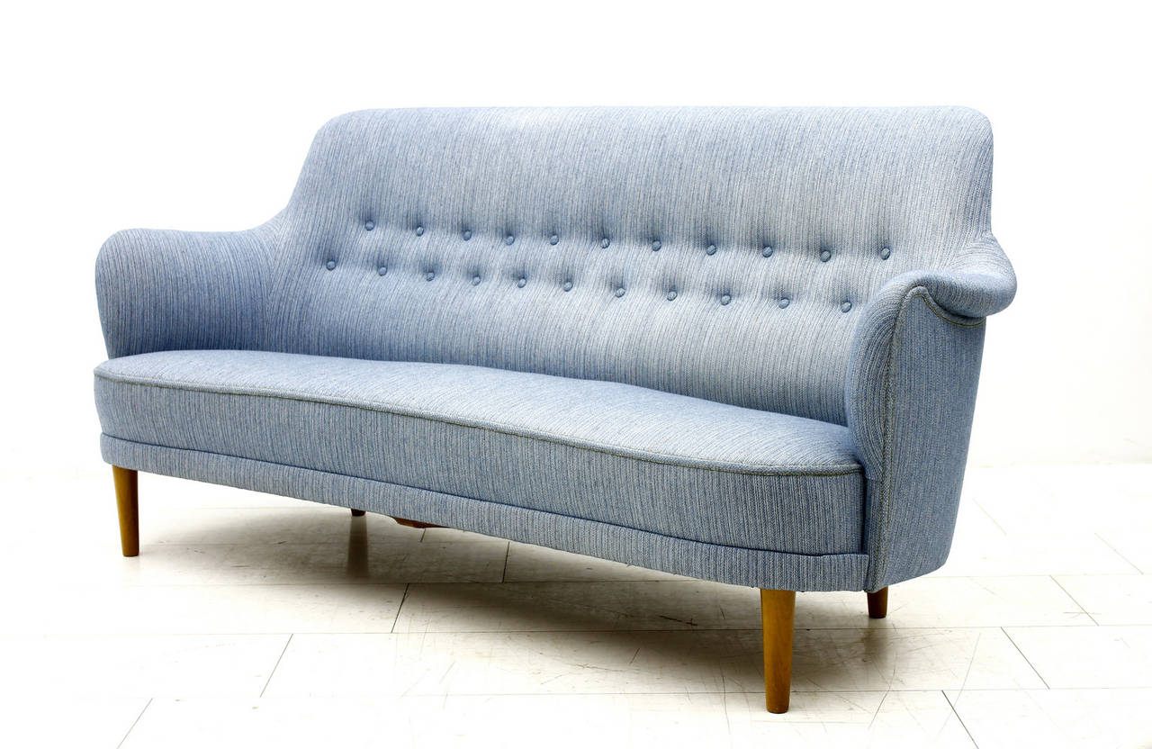Swedish Carl Malmsten Sofa with light blue Fabric, Sweden, 1940s For Sale