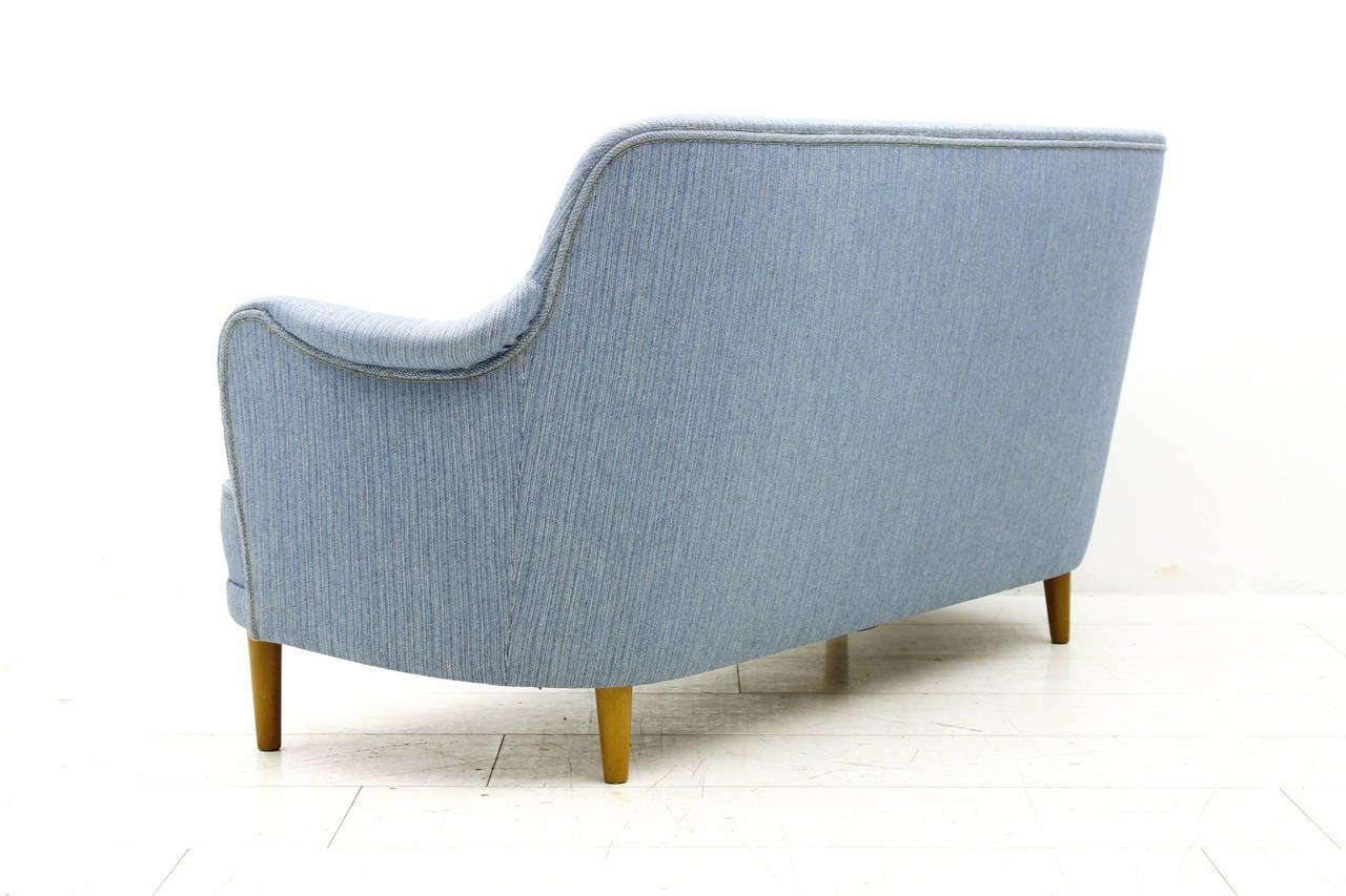Scandinavian Modern Carl Malmsten Sofa with light blue Fabric, Sweden, 1940s For Sale