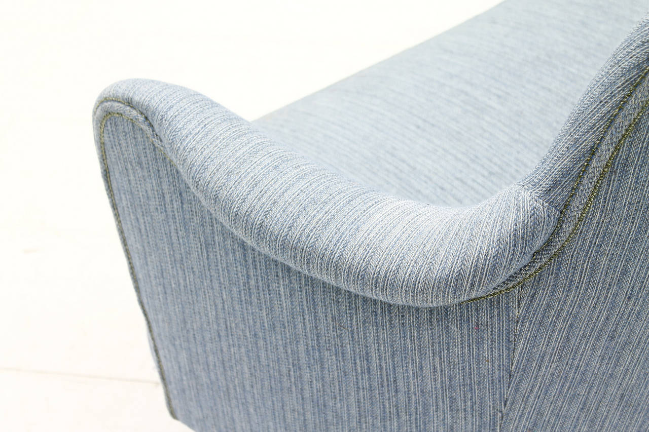 Mid-20th Century Carl Malmsten Sofa with light blue Fabric, Sweden, 1940s For Sale