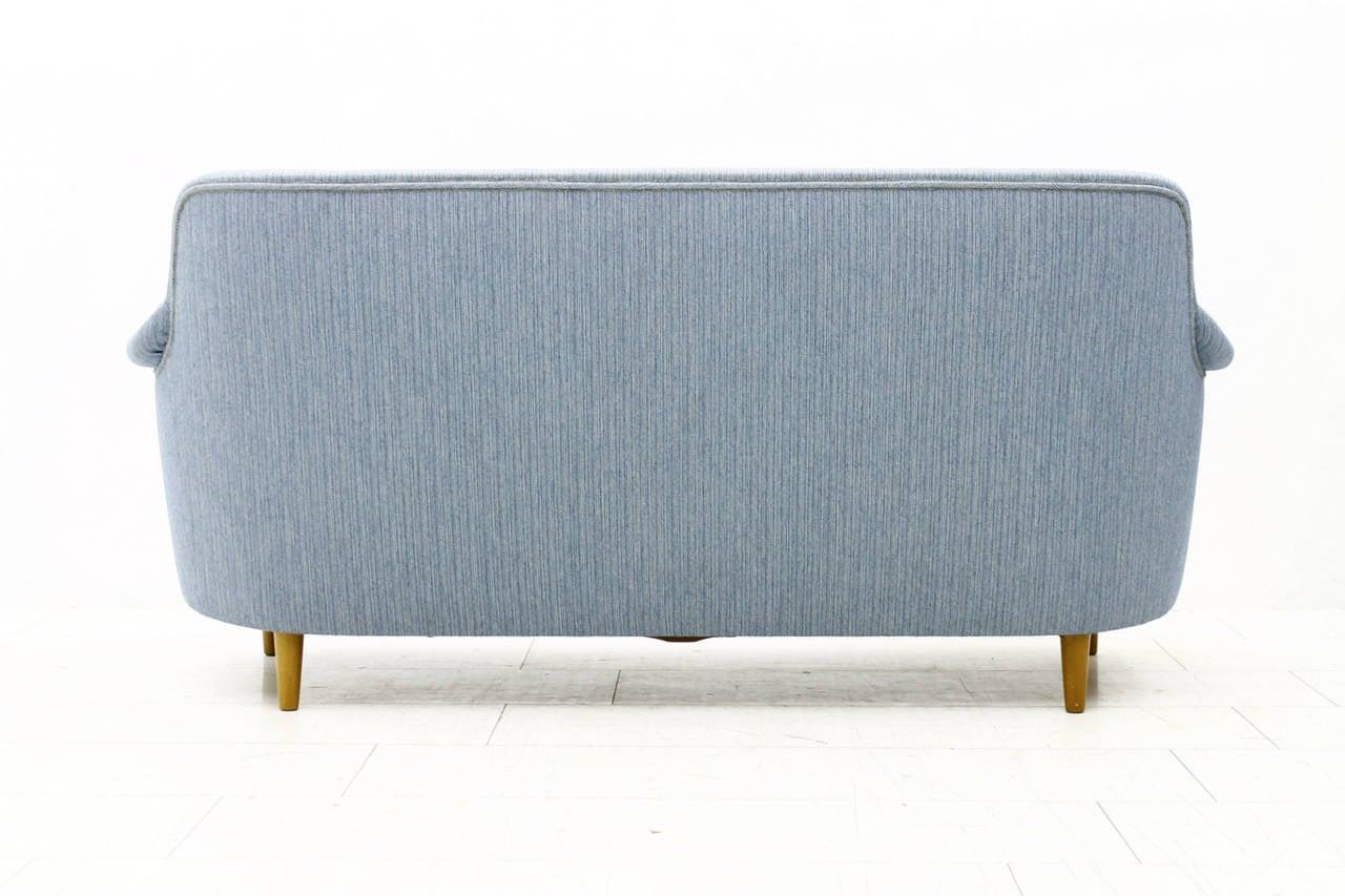 Beautiful sofa by Carl Malmsten, Sweden, 1940s. Light blue fabric. Very good original condition.  Worldwide shipping.