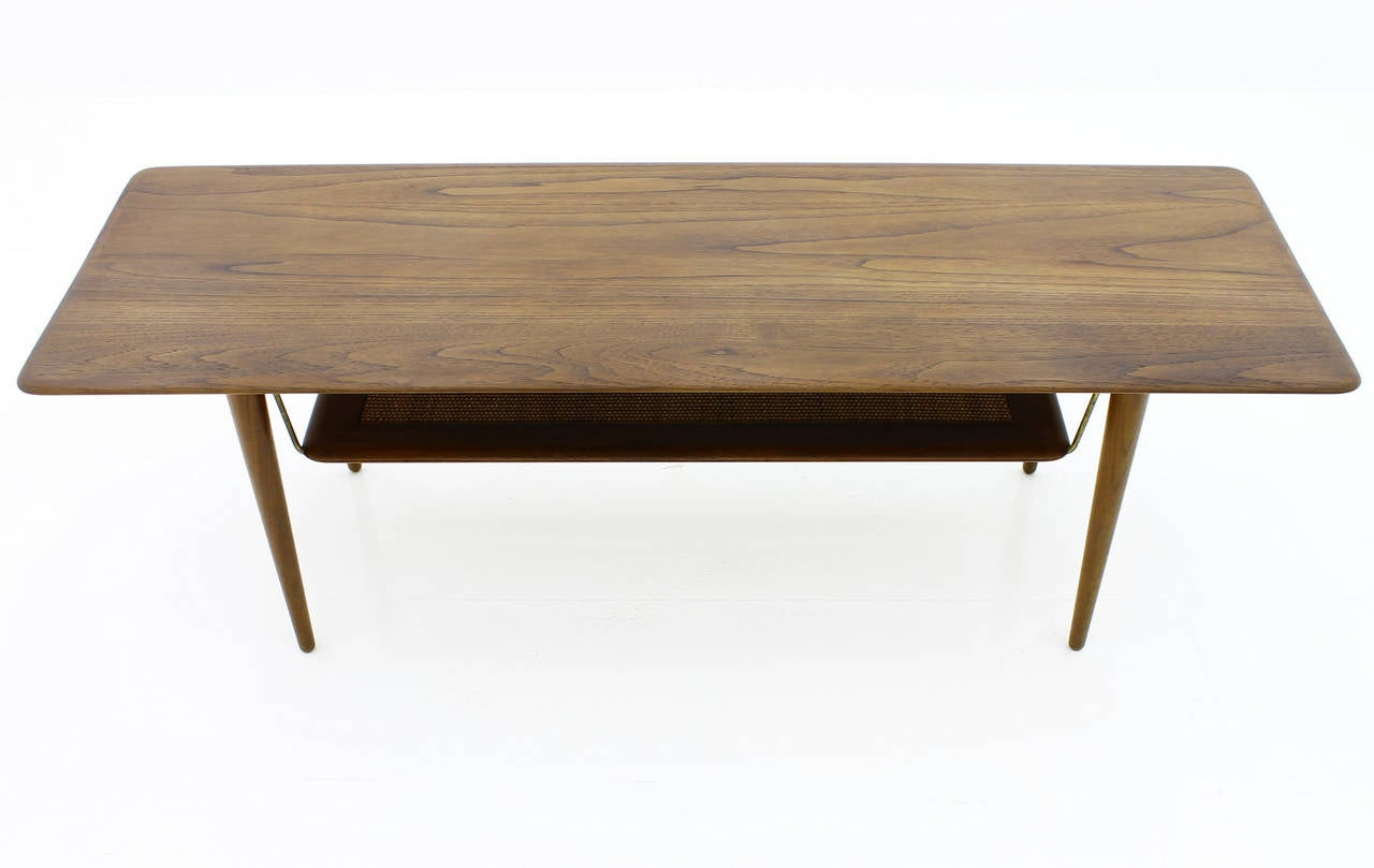 Beautiful teak wood coffee table by peter hvidt and orla for Sofa 50 cm sitzhohe