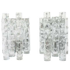 Pair of Nice Glass Wall Sconces by Doria, Germany 1960`s