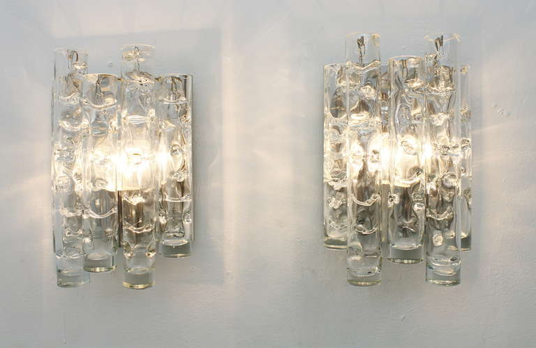 Metal Pair Of Nice Glass Wall Sconces By Doria, Germany 1960`s For Sale