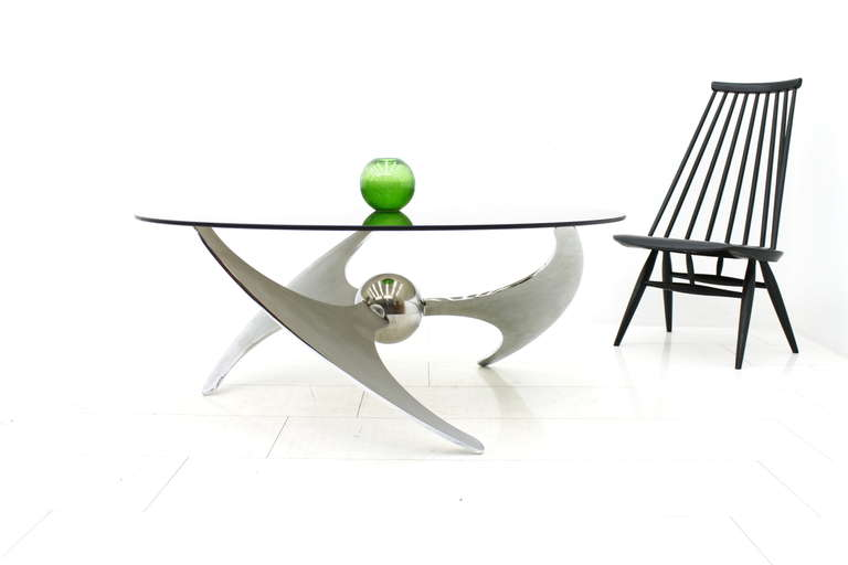 Mid-Century Modern Adjustable Coffee or Dining Table by Campanini, Metal & Glass, Italy 1973 For Sale