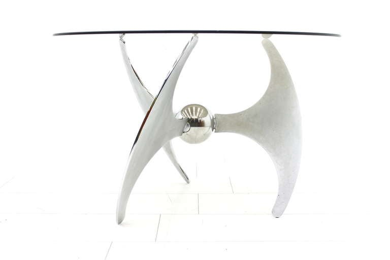 Steel and glass adjustable dining or sofa table l. Campanini for Cama, Italy, 1973.