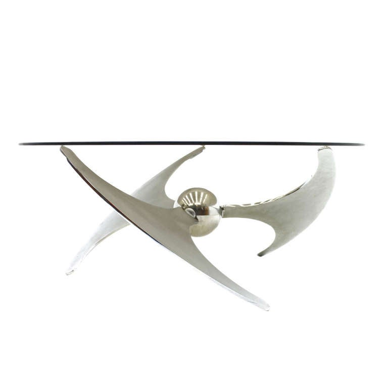 Adjustable Coffee or Dining Table by Campanini, Metal & Glass, Italy 1973