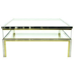 Maison Jansen Sofa Table with Glass Sliding Top, 1970s