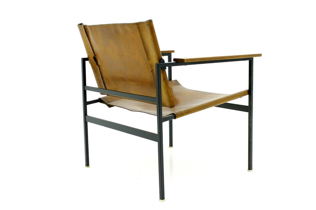 European Minimalist Armchair Leather Wood And Steel Circa 1960s For