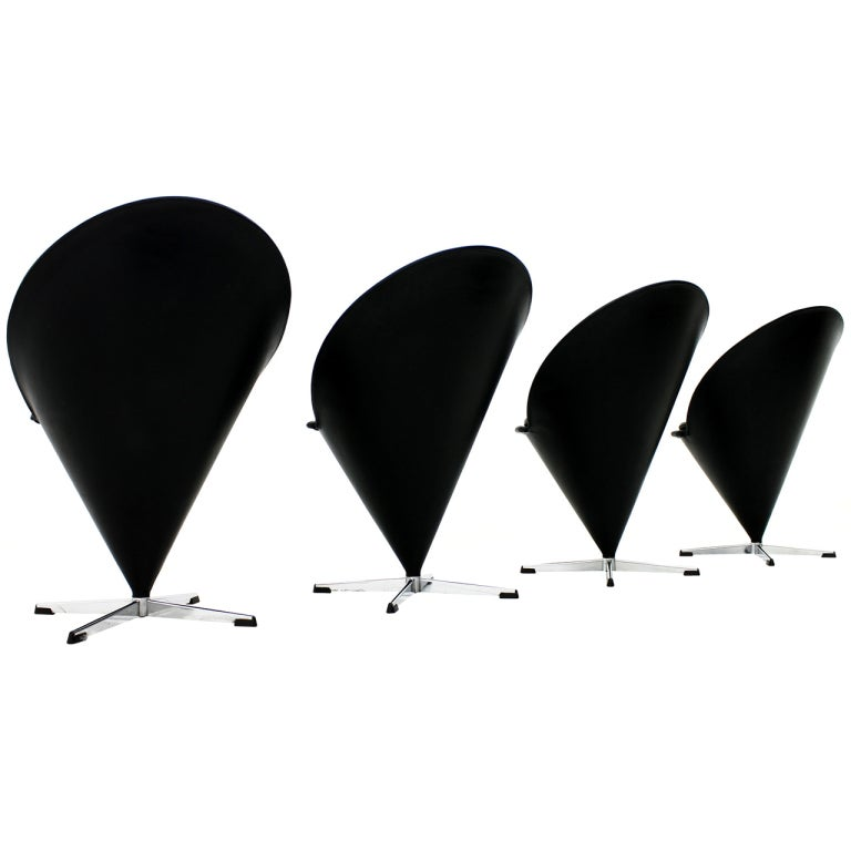 set of four black leather cone chairs by verner panton denmark 1958 for sale at 1stdibs. Black Bedroom Furniture Sets. Home Design Ideas