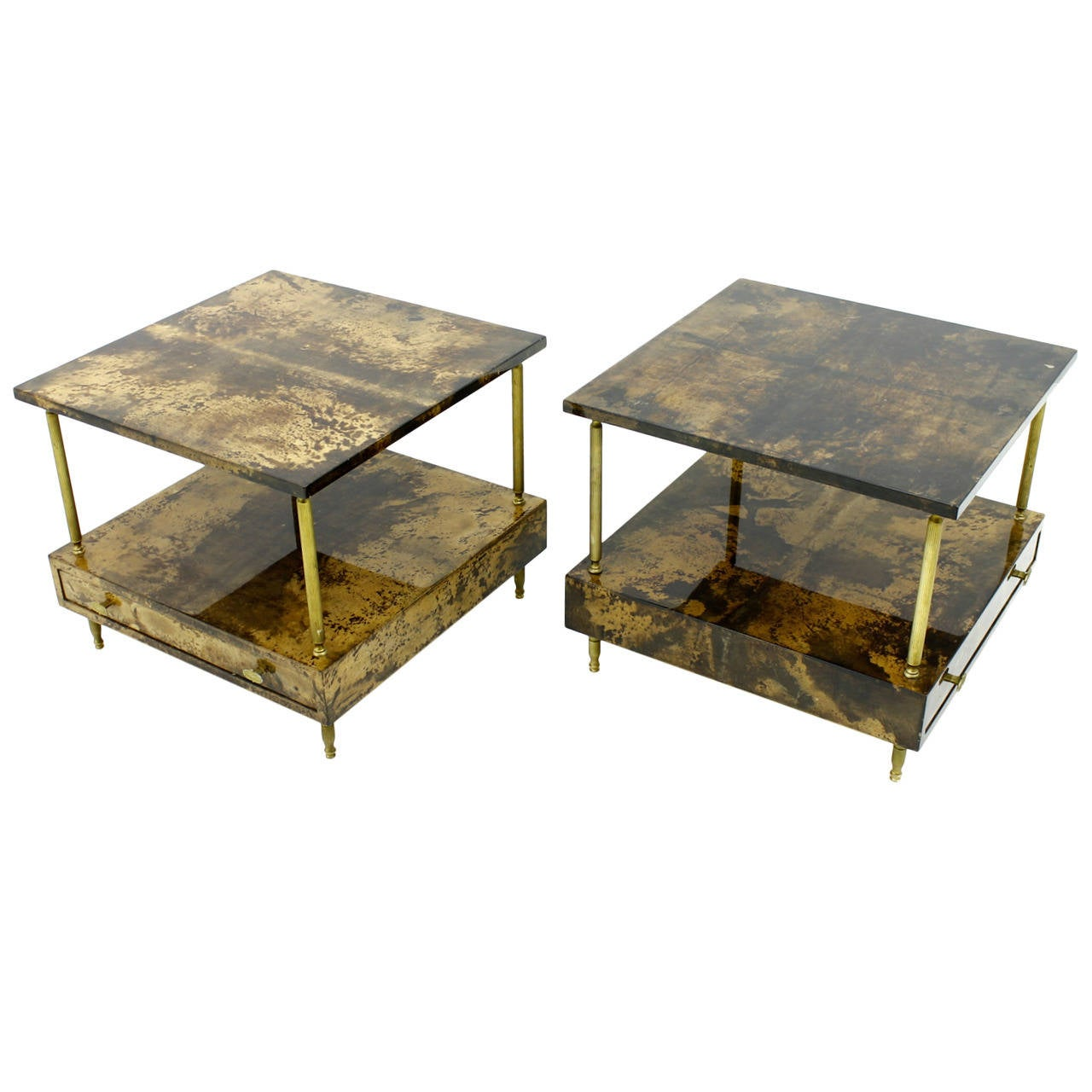 Pair Of Goatskin Night Stands Or Side Tables By Aldo Tura Italy 1960s. Full resolution‎  image, nominally Width 1280 Height 1280 pixels, image with #998C32.