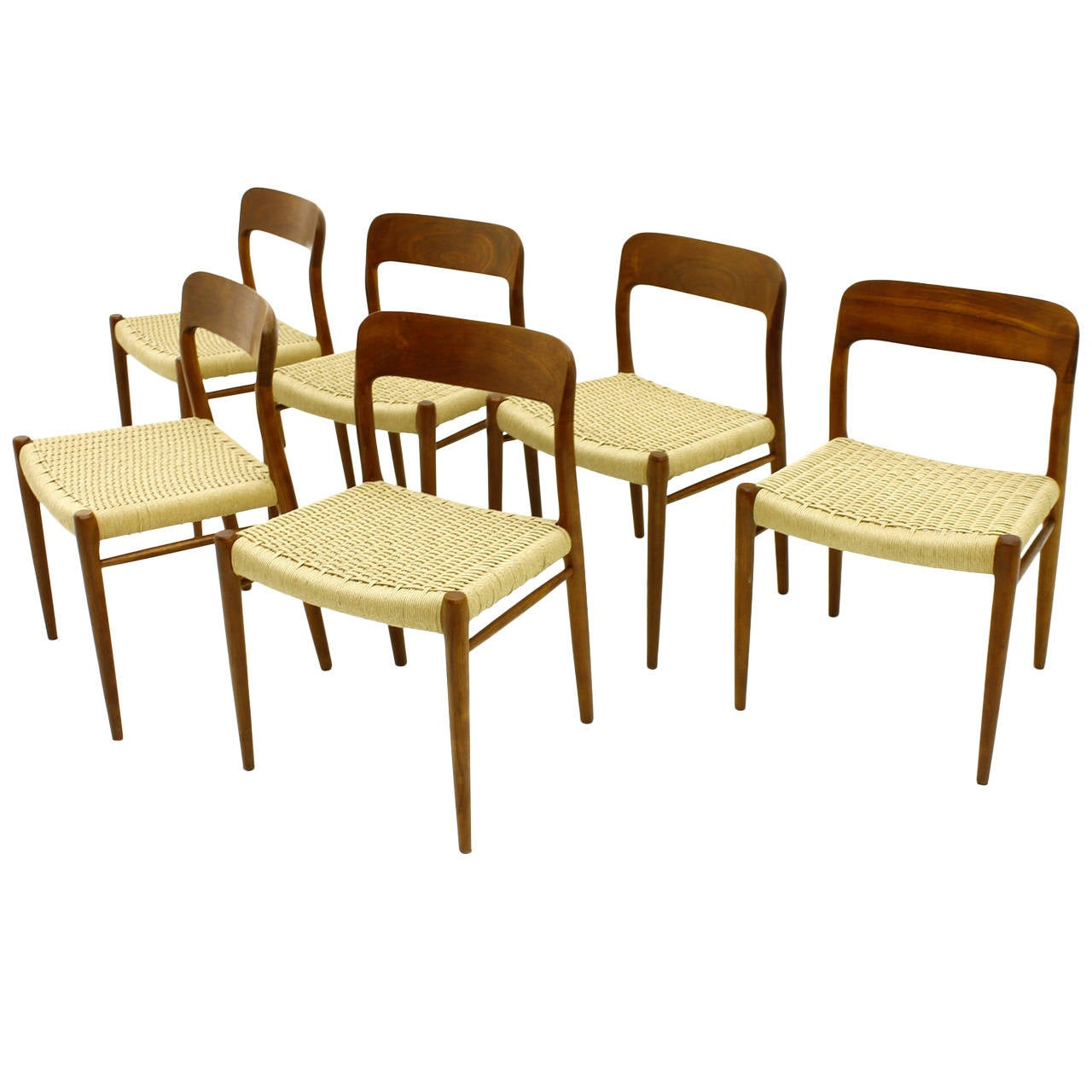 Set Of Six Niels O M Ller Teak Dining Room Chairs Model 75 Denmark 1960 S