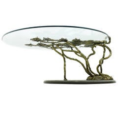 Beautiful Bronze Tree Form Sofa Table with Slate Base and Glass Top, 1960s