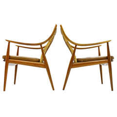 Early Pair of Peter Hvidt and Molgaard Lounge Chairs, Teak and Cane, 1956