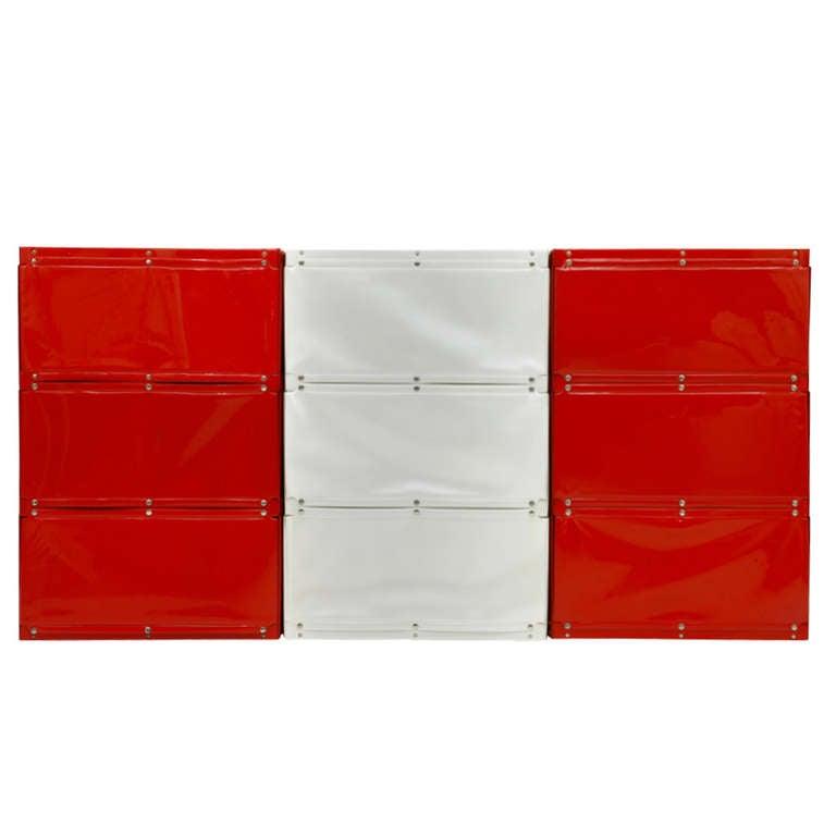 Softline Wall System, Shelf, Bookshelf by Otto Zapf, Germany 1971, Red / White