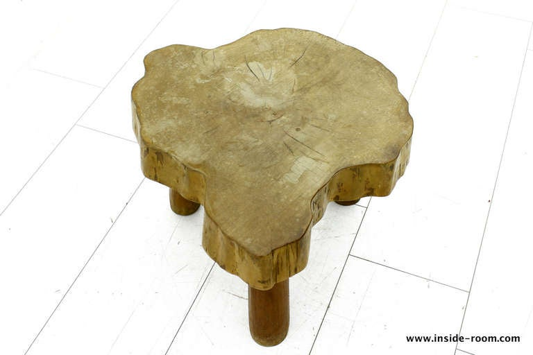 French Beautiful Solid Wood Table or Stool, circa 1960s For Sale