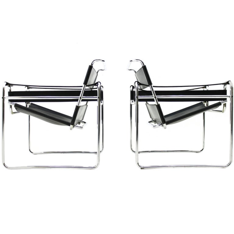 pair b3 wassily lounge chairs  marcel breuer  knoll int  bauhaus at 1stdibs