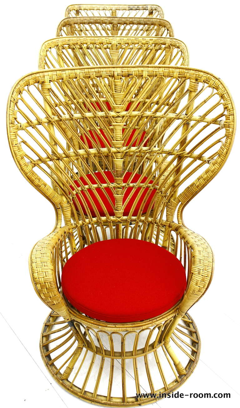 Set Of Four Gio Ponti Wicker Chairs At 1stdibs