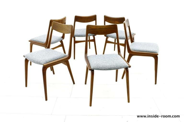 Set of Six Boomerang Teak Dining Chairs by Erik