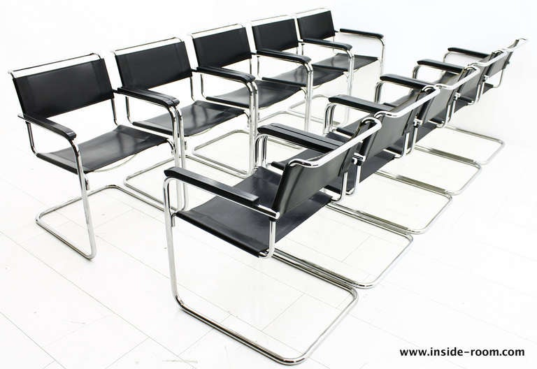 10 x mart stam steel tube dining chairs thonet bauhaus at 1stdibs. Black Bedroom Furniture Sets. Home Design Ideas