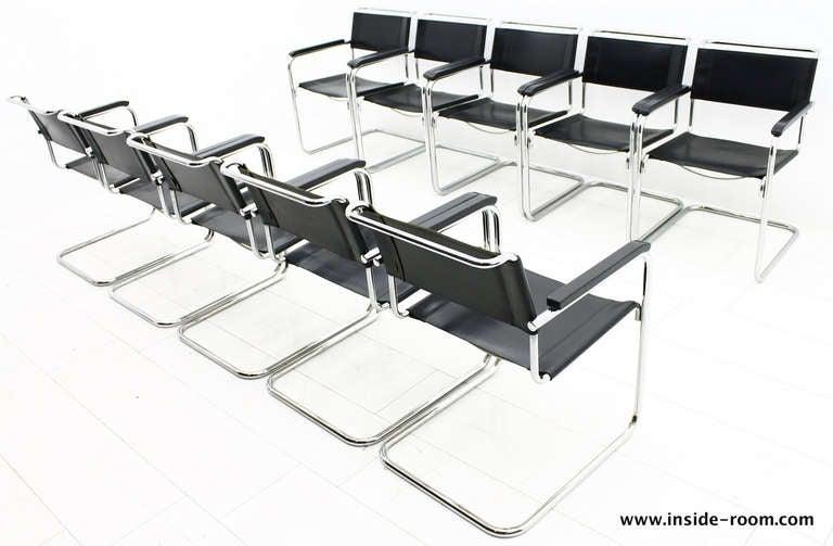 10 x mart stam steel tube dining chairs thonet bauhaus at 1stdibs. Black Bedroom Furniture Sets. Home Design Ideas