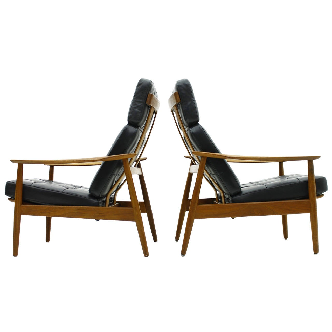danish reclining lounge chairs teak and leather by arne vodder 1960 for sale at 1stdibs. Black Bedroom Furniture Sets. Home Design Ideas