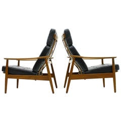 Danish Reclining Lounge Chairs, Teak and Leather by Arne Vodder, 1960