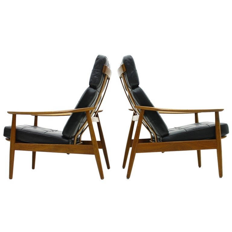 Danish Reclining Lounge Chairs, Teak and Leather by Arne Vodder, 1960 For Sale