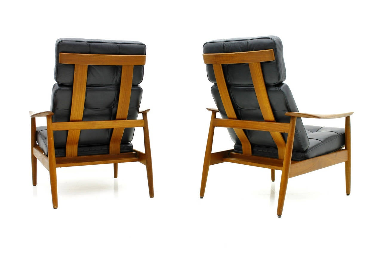 Danish Reclining Lounge Chairs, Teak and Leather by Arne Vodder, 1960 In Good Condition For Sale In Frankfurt / Dreieich, DE