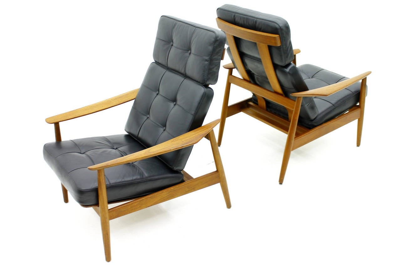 Mid-20th Century Danish Reclining Lounge Chairs, Teak and Leather by Arne Vodder, 1960 For Sale