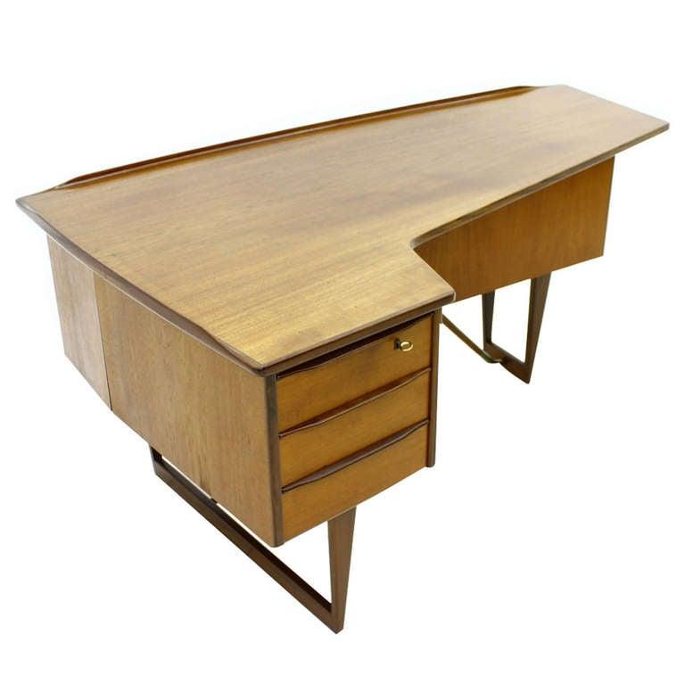 Asymmetric Teak Writing Desk By Peter Løvig Nielsen