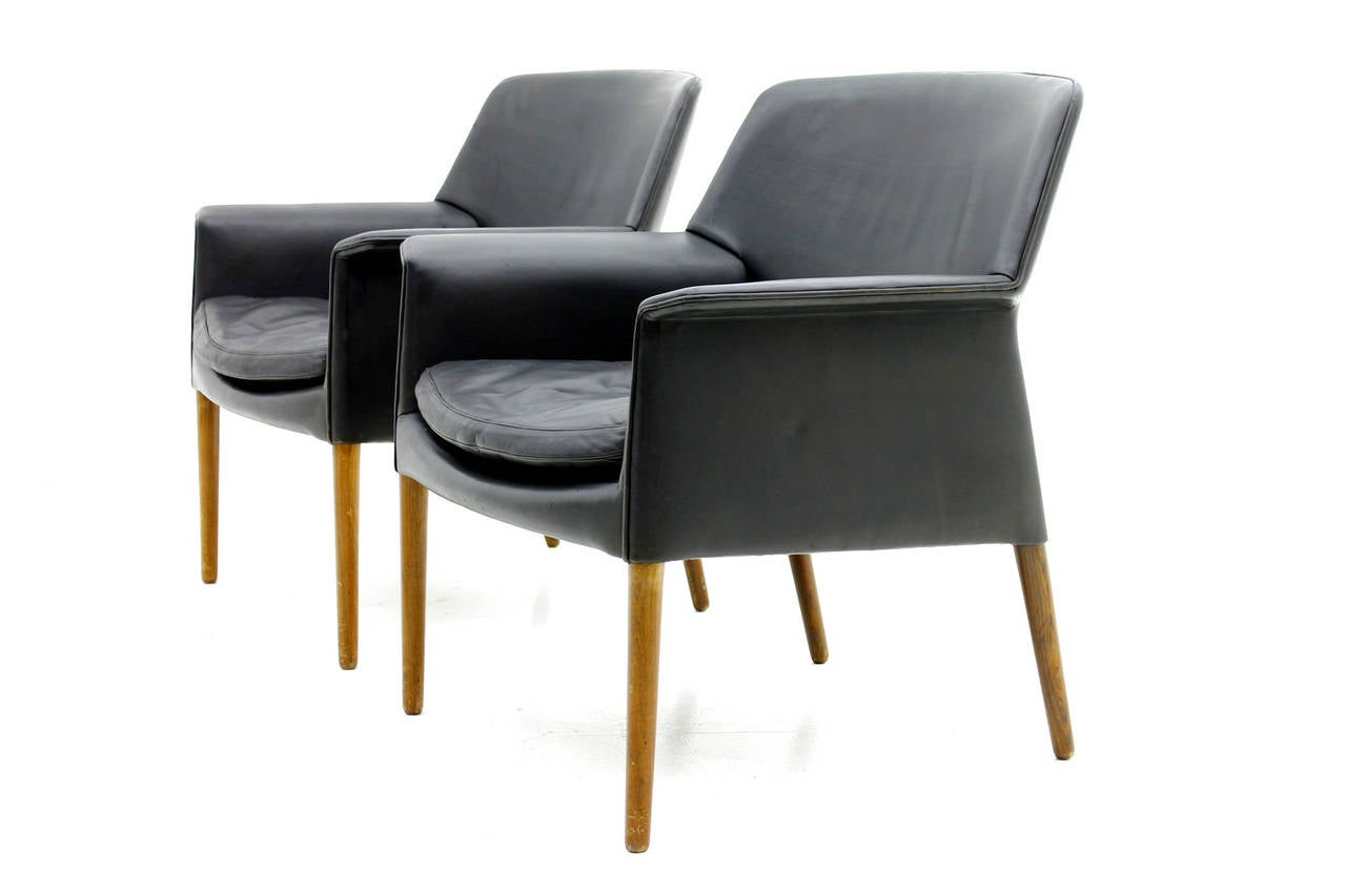 Pair Danish Lounge Chairs by Ejnar Larsen & Aksel Bender. 