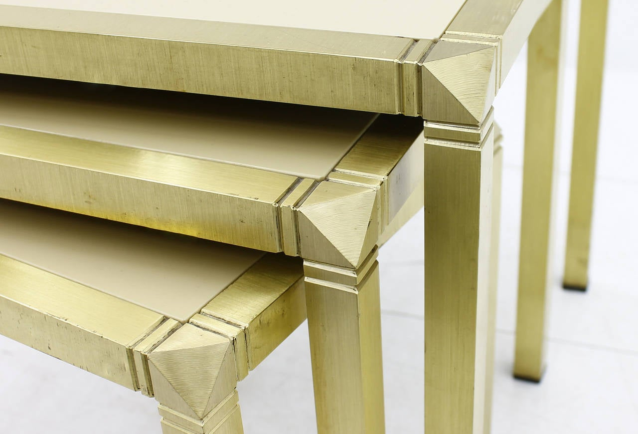 Nesting tables by Marzio Cecchi, Italy, 1970s. Brass and glass. Very good condition!